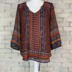 Miss Me | Boho Paisley Peasant Top | Size S